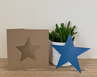 Blue metal star / NHS gift / gift card / thank you gift / letterbox gift / miss you card / wall decor