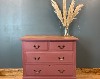 Vintage Chest Of Drawers Sideboard Painted Shabby Chic Rustic Dark Pink