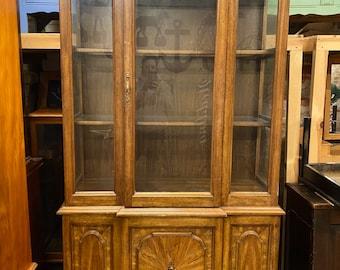 Vintage Oak Dresser / Glazed Cabinet / Display Cabinet /  Breakfront Glazed Cabinet