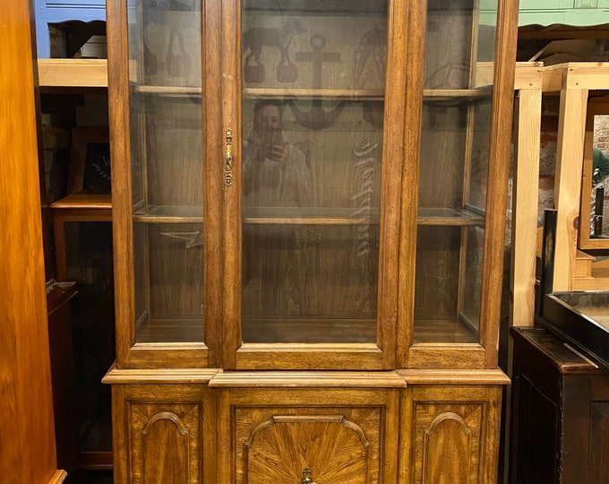 Vintage Oak Dresser / Glazed Cabinet / Display Cabinet /  Breakfront Glazed Cabinet