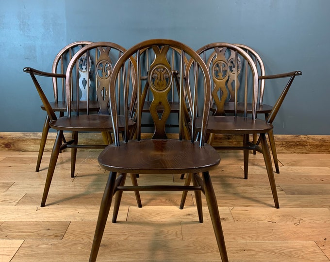 Set Of Six  Mid Century Retro 1960 Chairs Ercol Fleur de Lys Seat Seating Dining
