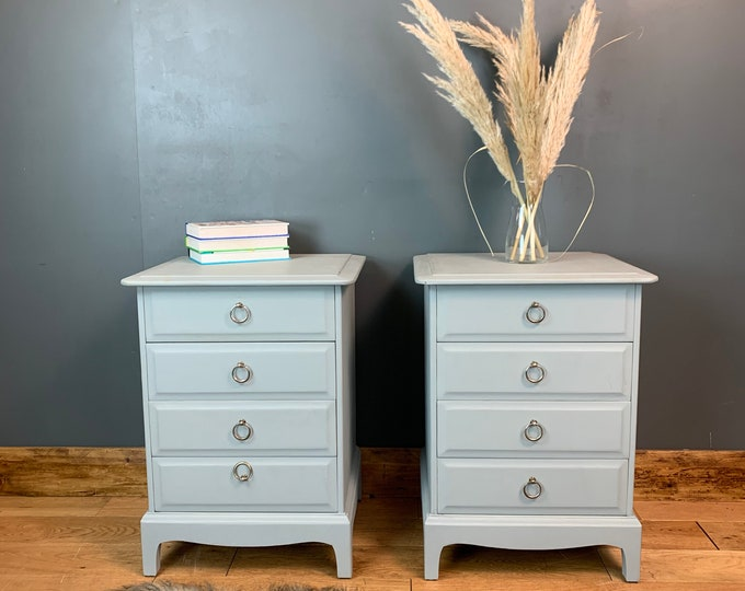 Vintage Pair Of Upcycled Painted Bedside Drawers Painted Light Blue/grey By Stag