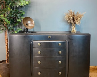 Boho Sideboard / Black Sideboard/ Beautility Cabinet / Painted / Buffet Server