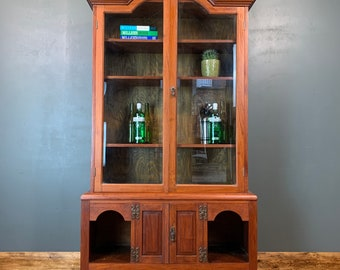 Vintage Mahogany Glazed Cupboard Dresser Bookcase Drinks China Cabinet Cocktail