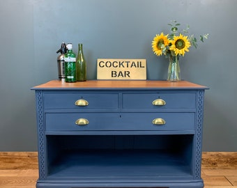 Vintage Sideboard / Painted Blue Sideboard / Rustic Chest Of Drawers /