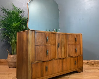 Vintage Dressing Table Chest Of Drawers Mirror Bedroom Dresser Storage Art Deco