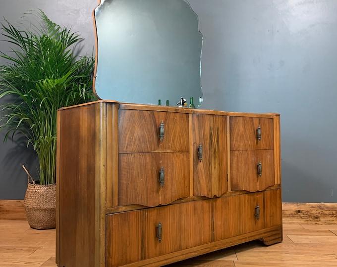 Vintage Dressing Table Chest Of Drawers Mirror Bedroom Dresser Storage Art Deco