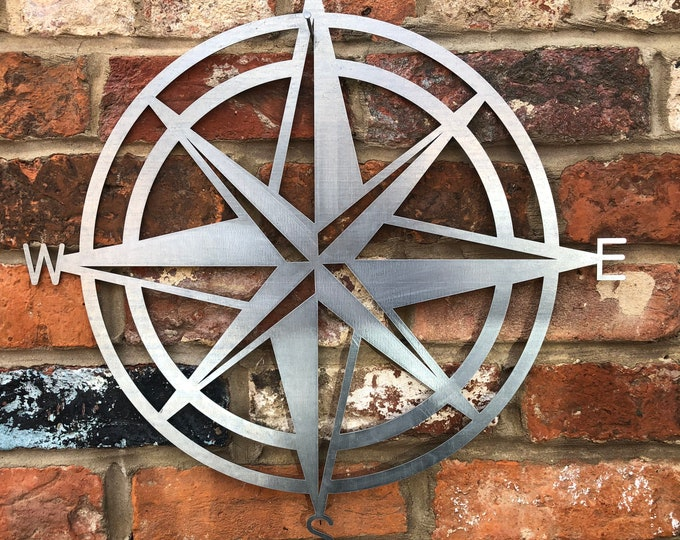 Steel  metal , COMPASS DECORATION , Garden Ornament , GARDEN Decoration , garden sculpture , fence decoration , wall decor , rustic sign