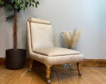 Victorian Slipper Chair/ Antique Armchair Bedroom Chair /Nursing Chair