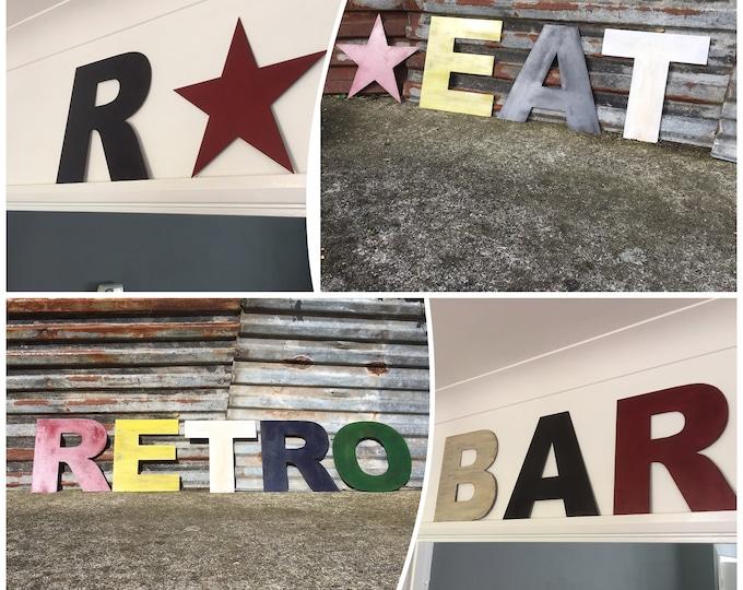 "Rustic signs , 12"" fat font coloured metal lettering , shop signage, house name , retro sign , shop front sign , restaurant decor"