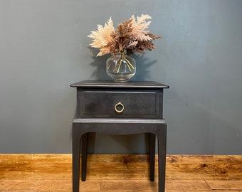 Vintage Stag Bedside Cabinet / Black Drawers/ Rustic Bedside / Painted