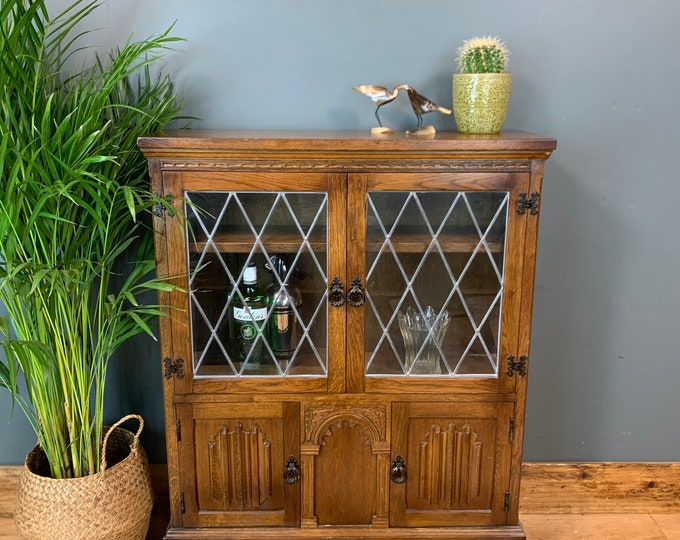 Vintage Old Charm Oak Sideboard Cupboard Bookcase Rustic Cocktail Cabinet