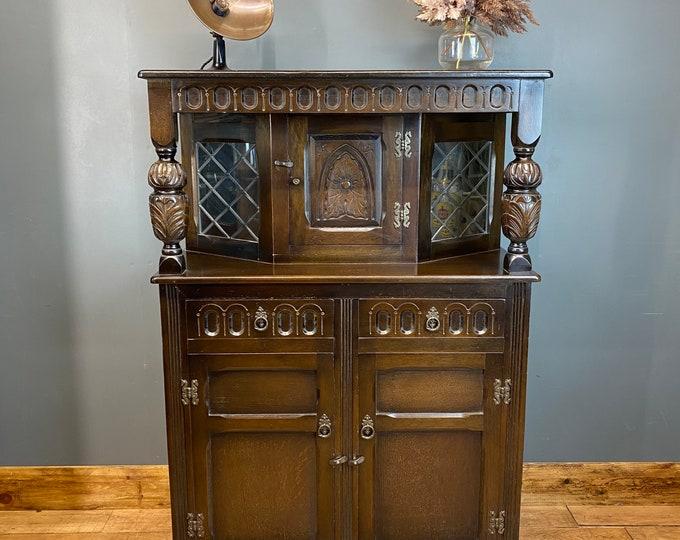 Vintage Oak Glazed Cupboard / Rustic Sideboard / Oak Court Cupboard /  Bookcase