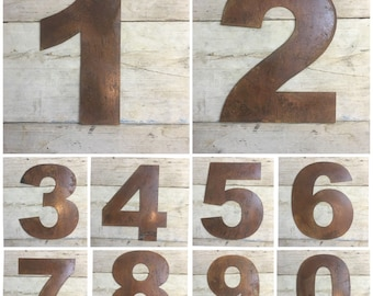 "Large 12"" Rusty Metal House Numbers signs Plaque Rustic Industrial Sign"