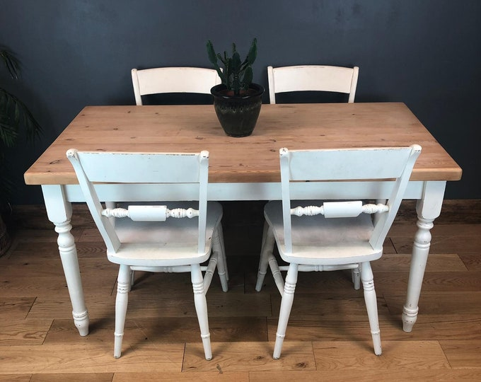 Rustic Rectangle Pine Table 4 Chairs Farmhouse   KItchen Dining Shabby Chic