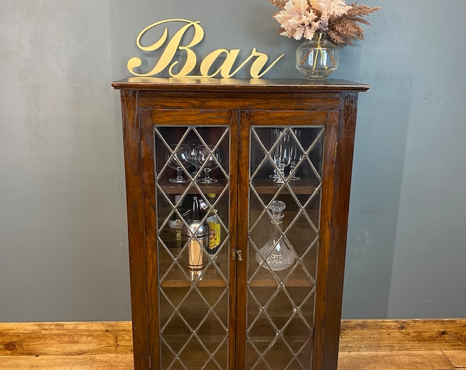 Vintage Oak Glazed Cupboard / Drinks Cabinet /  China Cupboard / Glazed Bookcase
