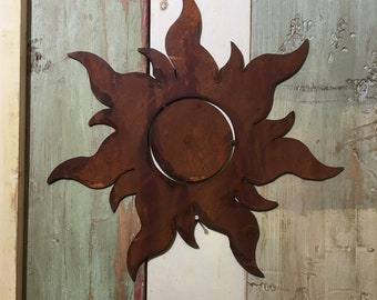 Rusted Rustic SUN Sign , Rusty Metal Garden Ornament  ,  Wall Decoration  , Fence feature , rustic garden decor ,