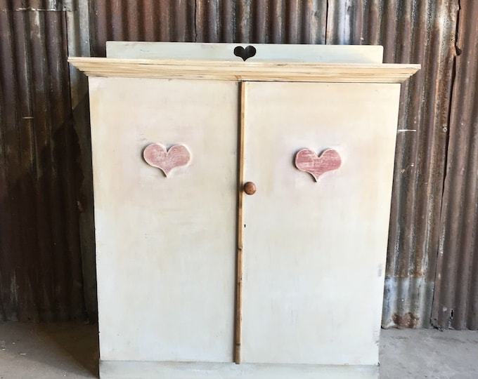 Vintage Cupboard / School Cupboard / painted Furniture / Linen Cupboard / Shabby Chic Cupboard / Shelved Cupboard / Farmhouse Bedroom