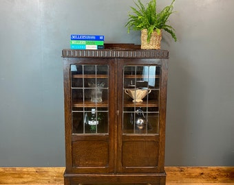 Vintage Glazed Cabinet / China Cabinet / Oak Bookcase/ Drinks Cabinet