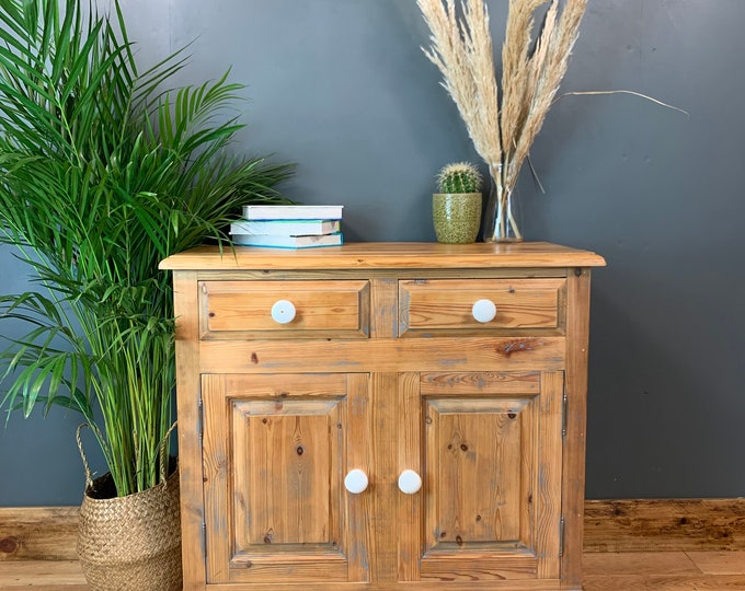Vintage Cupboard Drawers Sideboard Painted Pine Shabby Chic Upcycled Rustic