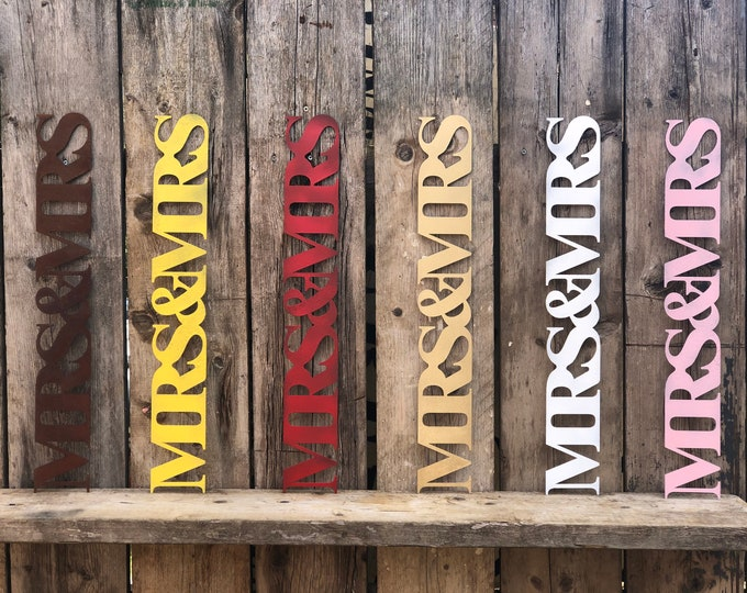 Rustic colourful MRS AND MRS sign decoration ornament home & wedding love hope shabby chic