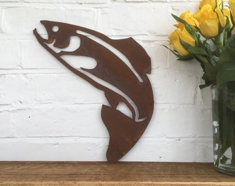 Rusty FISH Sign Metal Home Garden Ornament Pond koi Trout salmon