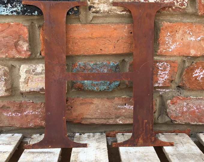 H Rusty metal letters, shop signage, initials, house garden sign name, lettering, rusted, industrial, vintage, numbers barbers, home