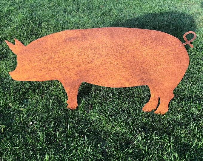 Rusty metal , garden ornament, LARGE PIG Sign , Home  ,Garden Decoration , lawn statue , Garden Feature,