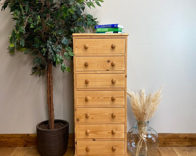 Vintage Tall pine Chest Of Drawers / Rustic Chest Of Drawers / vintage drawers