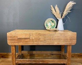 Rustic Old Pine Sideboard / Kitchen Workbench / Rustic Console Table / Console