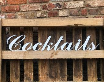 STEEL COCKTAILS SIGN , metal Lettering , metal  Letters  , bar Sign , Metal lettering , Shop sign , Home bar , wedding present , garden bar