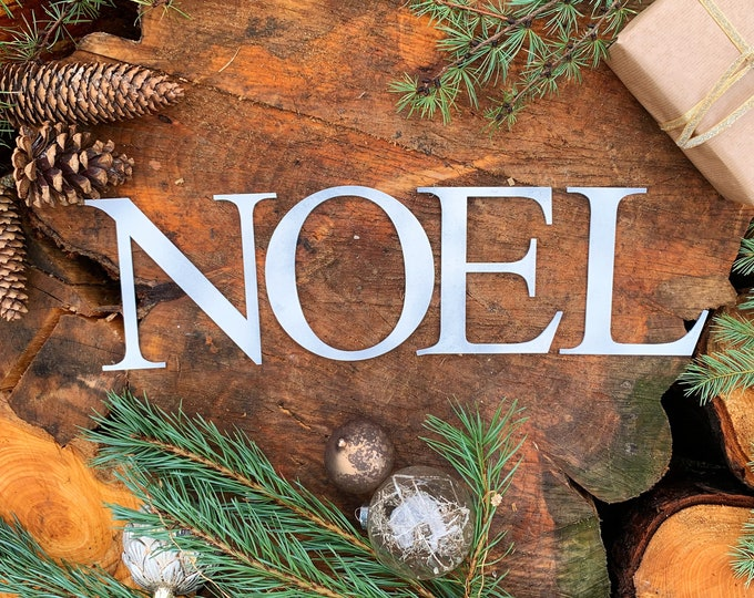 Rustic WHITE NOEL mantle CHRISTMAS Lettering Word  Sign Metal Nordic decoration
