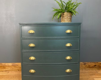 Vintage Chest Of Drawers / Painted Drawers/ Rustic Chest Of Drawers / Green