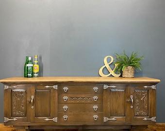 Vintage Rustic Oak Sideboard / Oak Cupboard / Vintage Unit / Long Sideboard