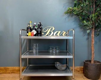 Industrial Tea Trolley /retro Hospital Trolley / Drinks Trolley / Cocktail Bar /