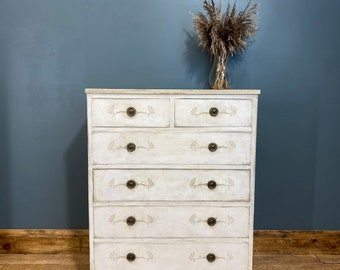 Vintage Chest Of Drawers / Painted Drawers/ Rustic Chest Of Drawers / Cream