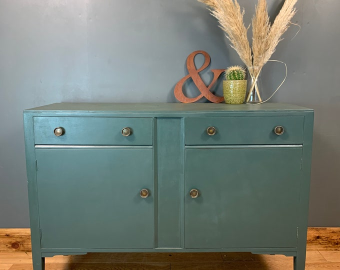 Vintage Cupboard Rustic Sideboard Boho Drawers Painted Green Shabby Chic