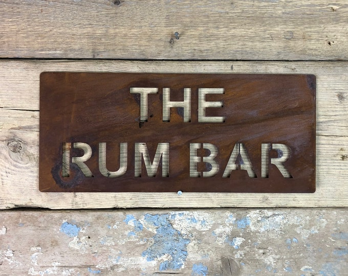 Rusted THE RUM BAR Plaque Word Sign Metal Shop Home Rustic Pub Cafe Bar Cocktails Drinks Gin Wine