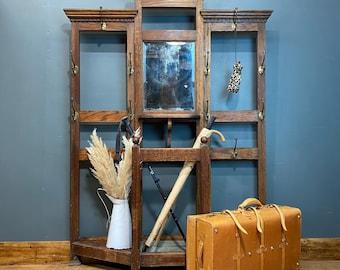 Vintage Oak hallway stand / hall stand/ coat hooks / coat stand/ antique oak