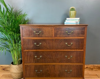 Vintage Rustic Wooden Storage Sideboard Chest Of Drawers Bedroom Inlaid Mahogany