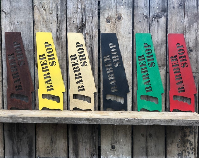 Rustic colourful BARBER SHOP SAW Sign Metal Pub Bar Drinks Tattoo Barbers salon