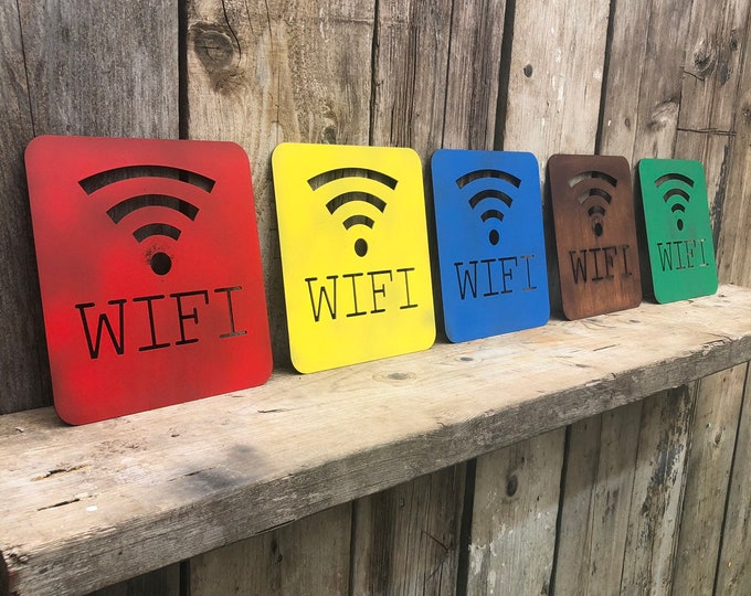COLOURED Wifi Word Lettering Letters Sign Metal Home Shabby Chic Vintage Rustic WIFI