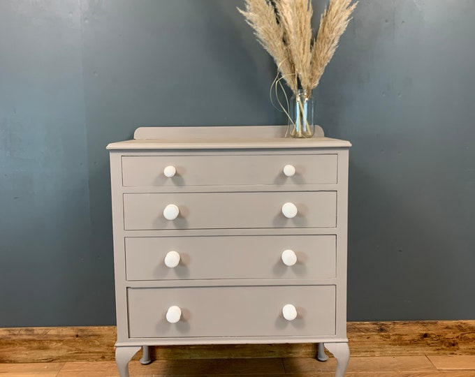 Vintage Chest Of Drawers / Shabby Chic Drawers / Painted Grey / Cabriole Legs