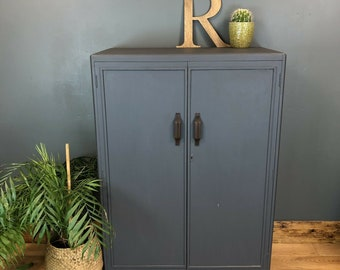 Vintage Painted Upcycled Wardrobe Cupboard Shelves Storage Distressed Blue/grey