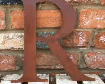 R Rusty metal letters , for inside or out , rustic home decor , kitchen decoration , garden feature ,