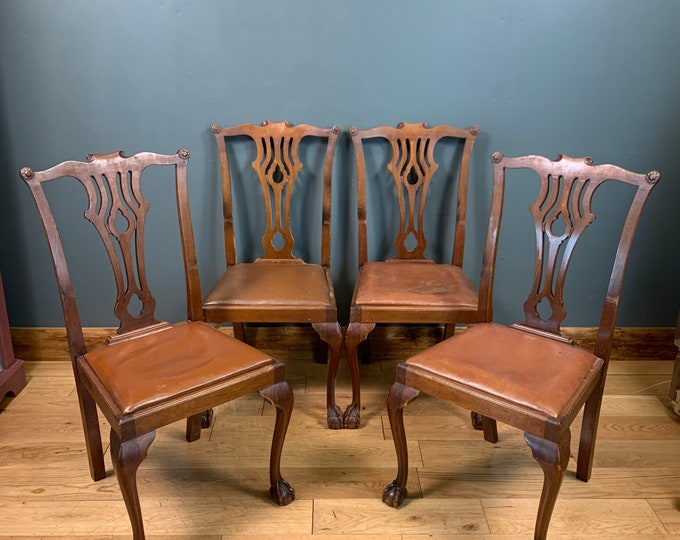 Antique Mahogany Chairs / Dining Chairs / Kitchen Seating / Rustic Style /