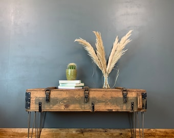 Vintage Rustic Upcycled Industrial Army Trunk Box Coffee Table Hairpin Legs (2