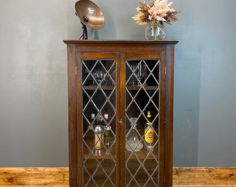 Vintage Oak Glazed Cupboard / Drinks Cabinet /  Cupboard /  Glazed Bookcase