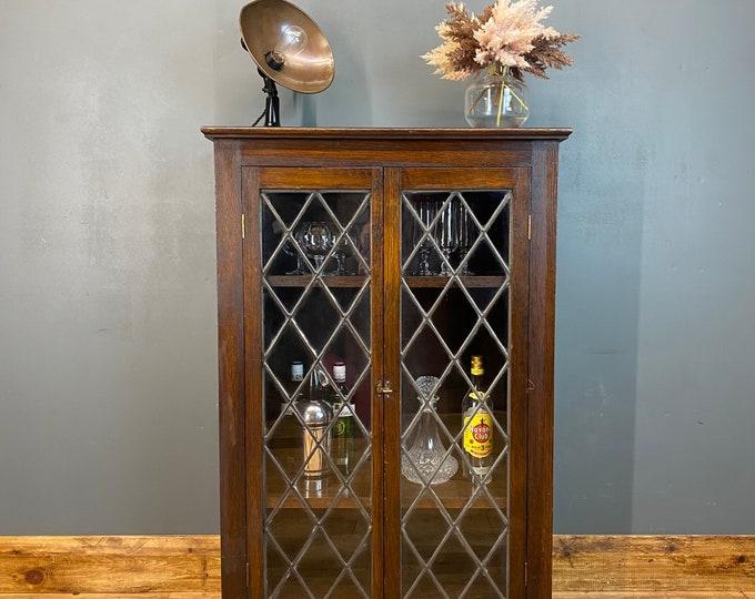 Vintage Oak Glazed Cupboard / Drinks Cabinet /  Cupboard /  Glazed Bookcase