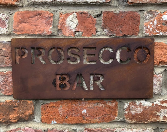 Rusted PROSECCO BAR Plaque Word Sign Metal Shop Home Rustic Pub Cafe Bar Cocktails Drinks Gin Rum Wine